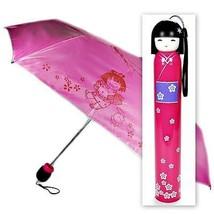 KOKESHI DOLL UMBRELLA Pink Folding w Hard Case Geisha Girl Japanese Lady... - $14.88