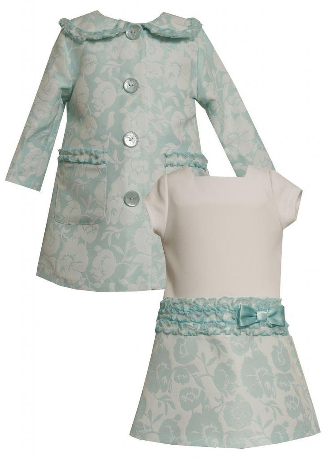 Bonnie Jean Baby Girl 3M-24M Aqua-Blue Ivory Ruffle Jacquard Dress/coat Set