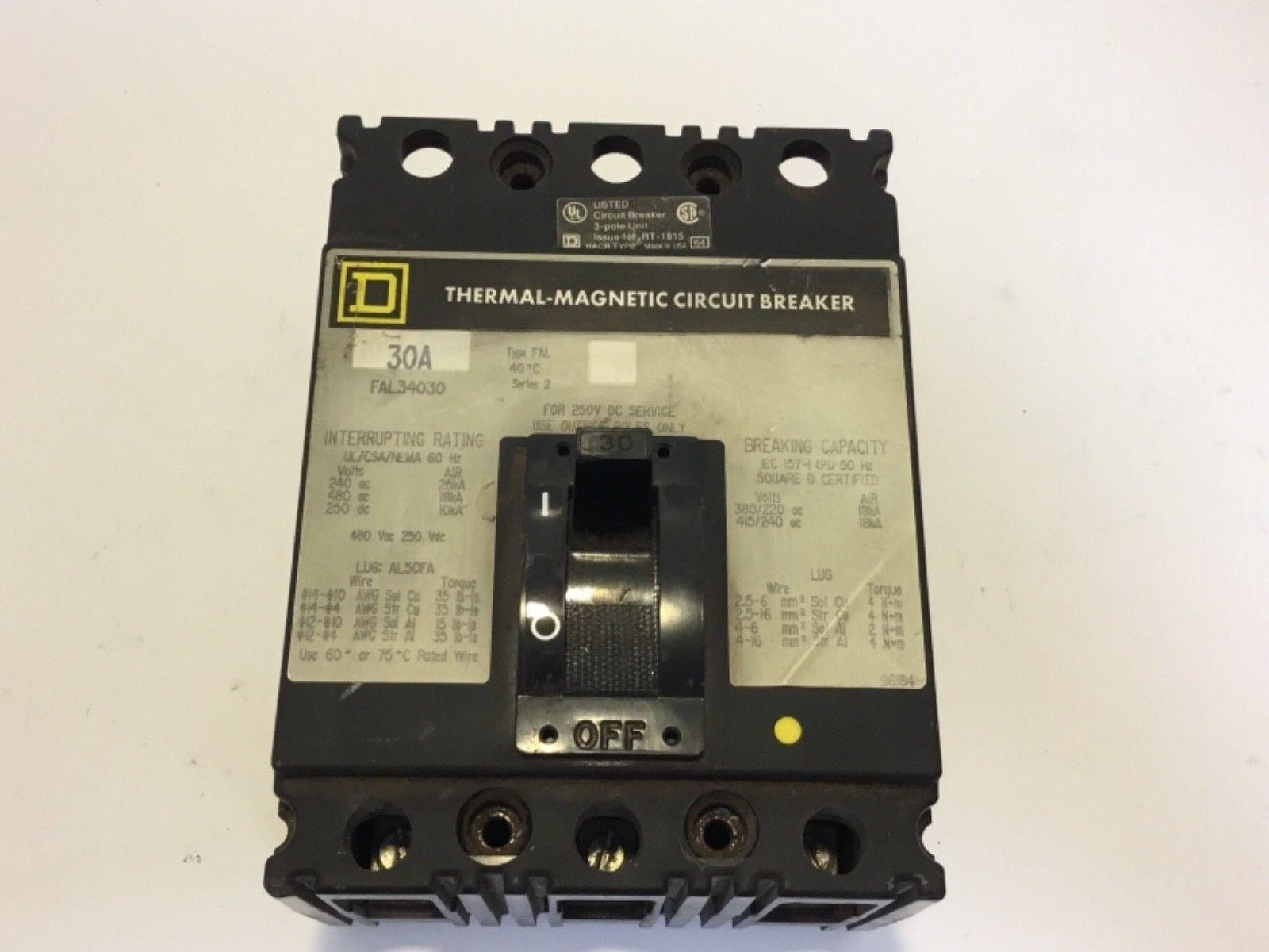 Square D Circuit Breaker FAL34030 30 Amp 480 Volt 3 Pole