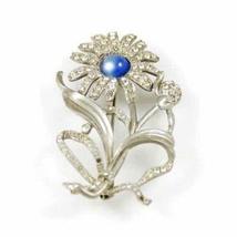 Vintage Silvertone Daisy Brooch Blue Cabochon Center 1930'S - $29.00