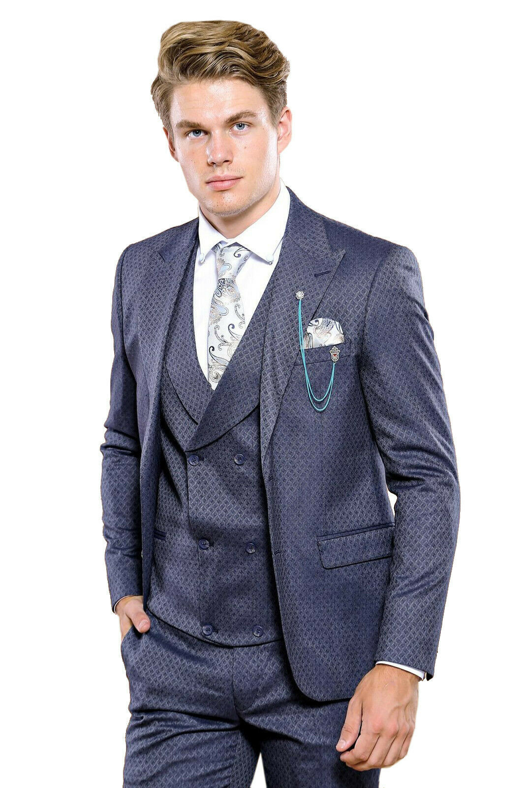 Primary image for Men Three Piece Vested Suit WESSI by J.VALINTIN Extra Slim Fit JV17 Navy Blue