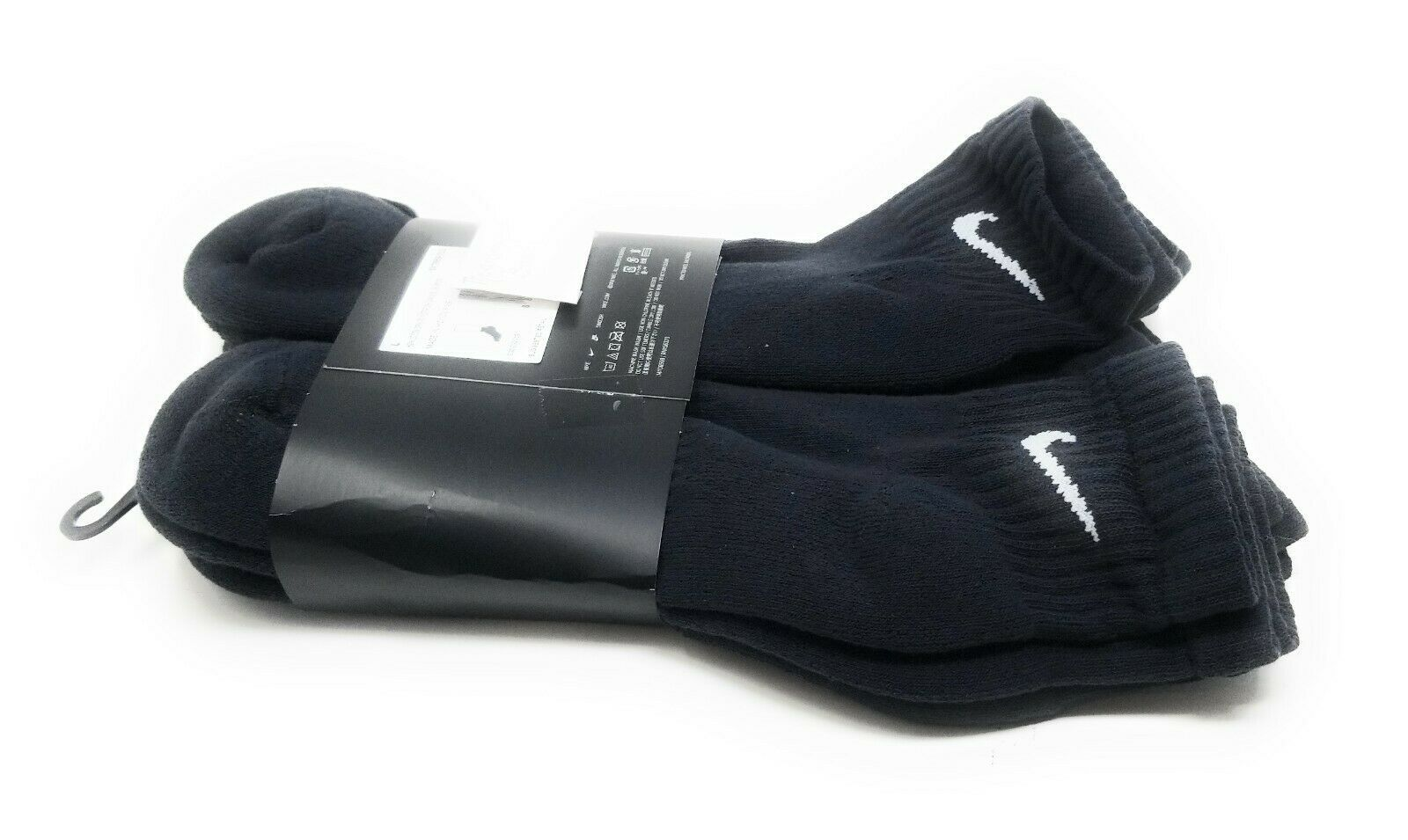 Mens Ankle Nike Socks L Black Women Quarter 6 Pairs Cotton Cushion Training image 7