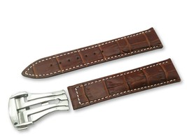 Brown/White Cr Leather Watch Strap for Omega Seamaster Clasp 18 19 20 21... - $37.26+