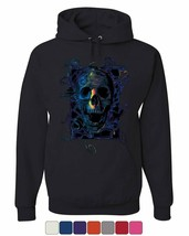 Neon Skull Hoodie Reaper Death Skeleton Grin Doom Halloween Sweatshirt - $23.20+
