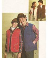 Vintage 1978 Men's Lined Quilted Vest Hand Or Machine Sew Pattern S42 - $9.99