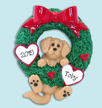Golden Retriever  PUPPY DOG  Hanging in Wreath Hand Painted RESIN Person... - €11,09 EUR
