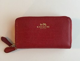 COACH Red Leather Double Zip Coin/Card Case Clutch/Wallet (F57855) - $39.55