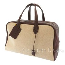 HERMES Victoria 43 Taurillon Clemence Toile H Brown Beige Tote Bag Authentic - $1,217.80