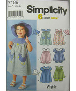 Simplicity Sewing Pattern #7189 Size 1/2, 1, 2, 3, 4 - $13.00