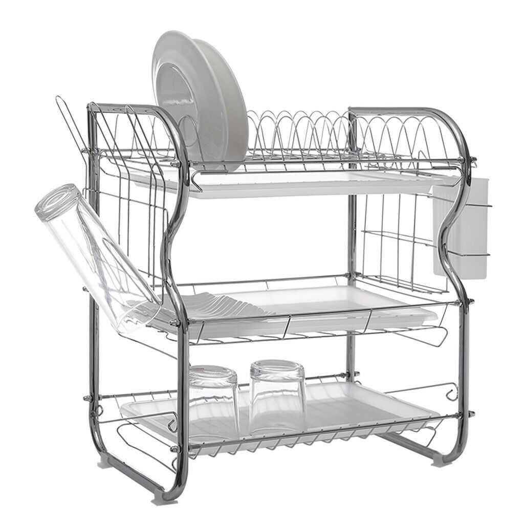 Primary image for Dish Drainer Drying Rack 3 Tier Stainless Steel Kitchen Cutlery Holder Shelf US
