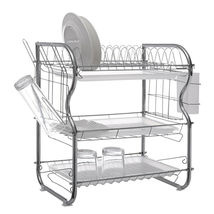 Dish Drainer Drying Rack 3 Tier Stainless Steel Kitchen Cutlery Holder S... - $37.59