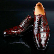 Handmade Men's Crocodile Texture Dress/Formal Oxford Leather Shoes image 3