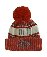 Ohio Plush Lined Embroidered Winter Knit Pom Beanie Hat (Red/Gray Script) - $15.15