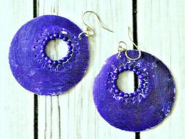 vintage large big round chippy purple hoop earrings pierced ears boho bohemian - $6.92
