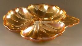 Carnival Glass Candy Dish Shamrock Jeanette Doric Marigold - Excellent V... - $14.84