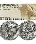 Roma, Erfolg 2 Pferd Chariot NGC VF Junia 15 Alte Römische Silber Denari... - $330.47