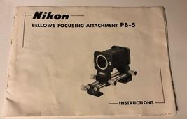 Nikon PB-5 Bellows Focusing Attachment Instruction Manual Guide Book - $7.92