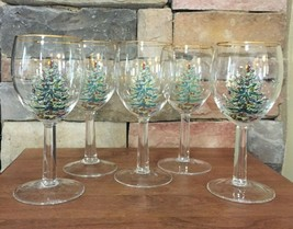 Spode~Christmas Tree~Water Goblets~Five - $17.81