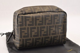 FENDI Zucca Canvas Pouch PVC Leather Black Brown Auth sa1796 - $320.00