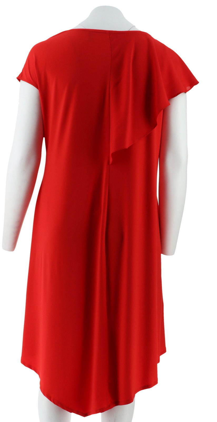 H Halston Jet Set Jersey Mixed Media Midi Dress Crimson M NEW A308891