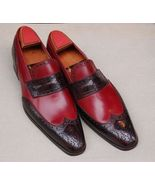 Handmade Men two tone Leather Shoes moccasins slip ons, burgundy and bro... - $169.99