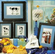 Cross Stitch Cows Betsy Trio Holstein Potholder Towel Big Graphs Pattern - $10.99