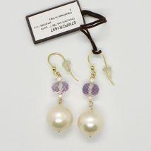 Boucles D'Oreilles en or Jaune 18K 750 Perles Eau Douce et Améthyste Rose Italy image 3