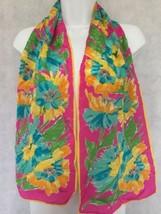 Vtg Vera Neumann Silk Scarf Hand Rolled Pink Blue Floral Rectangular - $34.99