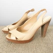 Gianni Bini nude sling back, Peep Toe Heels with wood base. Size 7 - $13.10