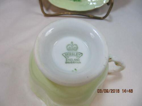Aynsley Tea Cup & Saucer Set Lime Green with Scenery embossed design detail image 4