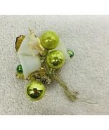 Vintage Christmas Corsage Bells Ball Celluloid Deer Bright Hot Green T80 - $12.38