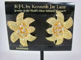 Vintage Kenneth Jay Lane KJL Crystal Flower Clip Earrings Gold Tone - $39.59