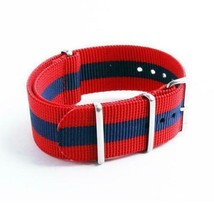 22mm Nato Canvas Nylon wrist watch Band strap Lenght 255mm RED BLUE - $14.22