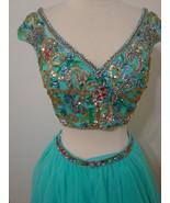 SHERRI HILL Turquoise 2pc Jeweled Adj Strap Sleeveless Short Skirt Dress 2 - $359.99