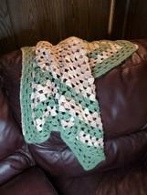 Vintage Crochet Baby Blanket Green Pink White - $38.70