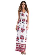 AOVEI White Floral Print Chiffon Halter Deep V Night Out Boho Long Maxi Dress - $29.99