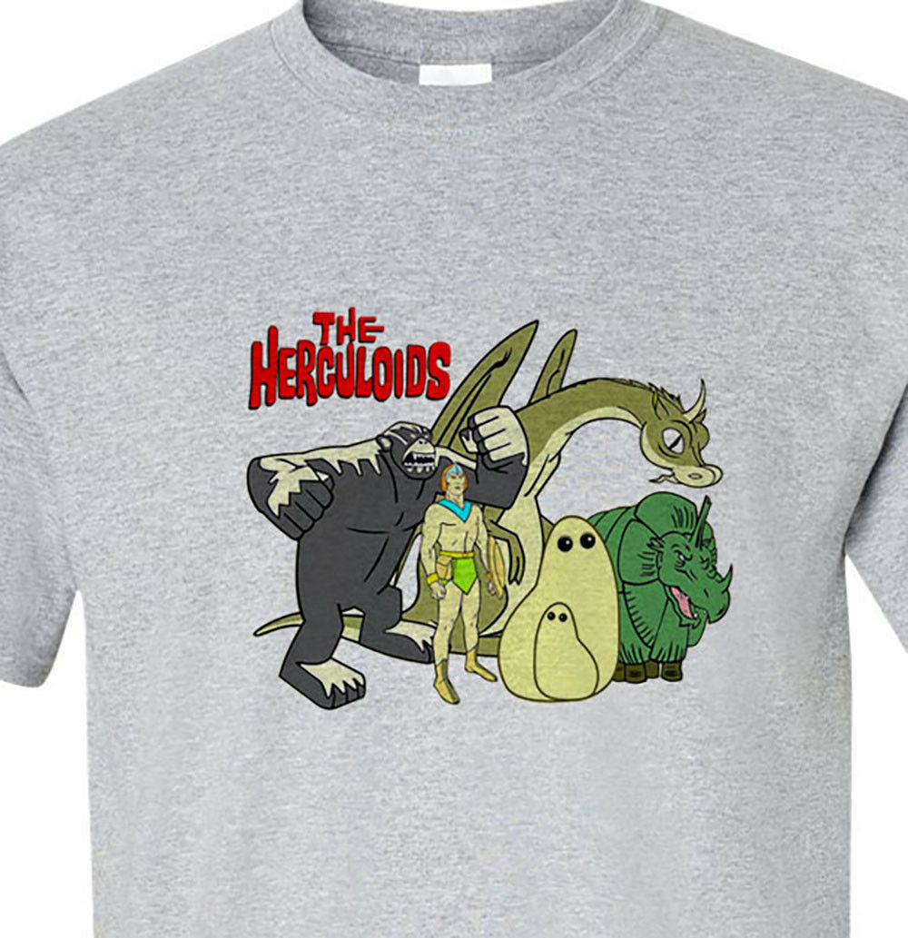 The Herculoids T-shirt gray logo Saturday Morning Cartoons retro free shipping
