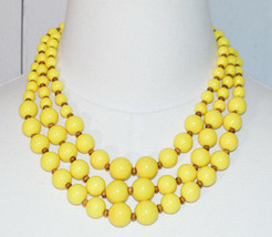 Yellow Brown Cascading Beaded Multi Strand Silver Tone Choker Necklace V... - $29.69