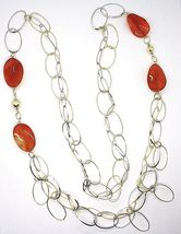 Necklace Silver 925, Carnelian Oval Wavy, Double Chain, Long 110 CM image 3