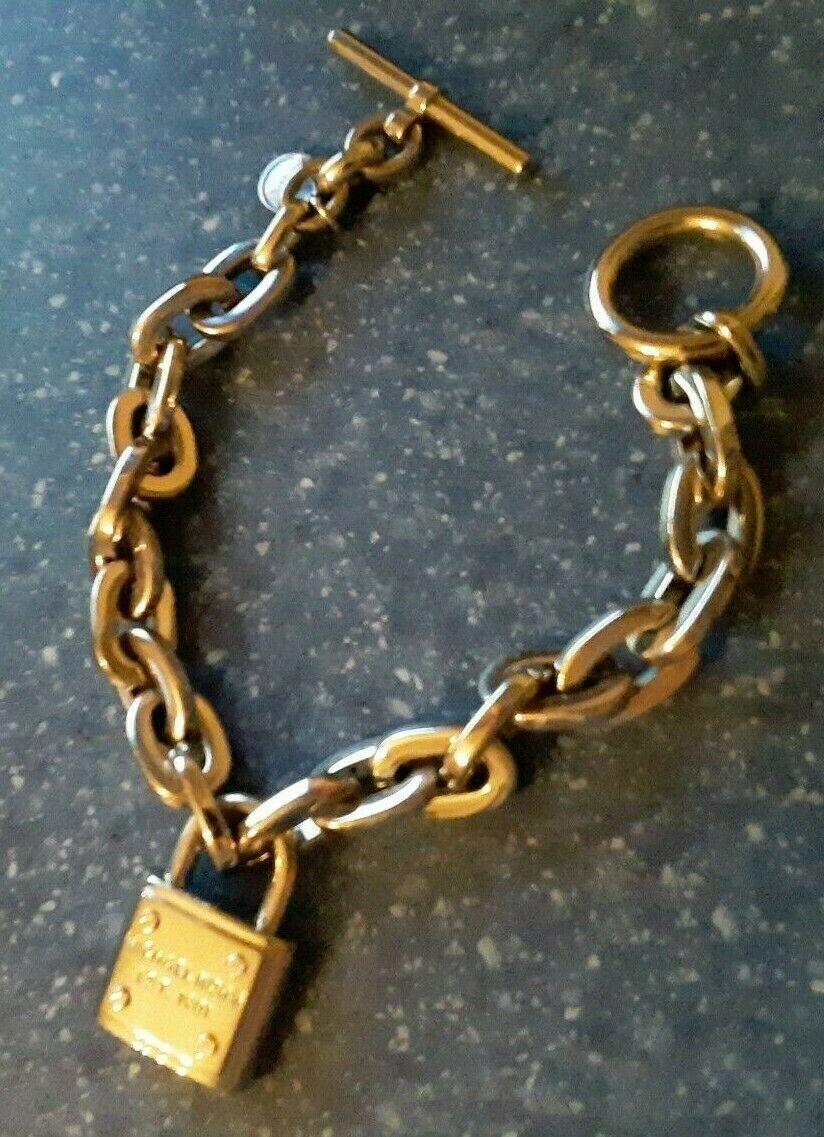 "Michael Kors Silver Toggle Heavy Chain Link Padlock Lock Bracelet 7 1/2"" MINT"