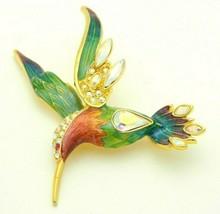 Graziano Sundancer Hummingbird Rhinestone French Enamel Brooch Pin Aurora - $133.64