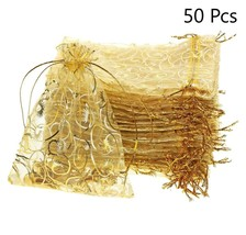 Gold Organza Bags Christmas Candy Favors Wedding Gift Pouches Jewelry Sh... - $19.34