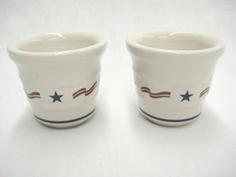 Longaberger Stars and Stripes Set of 2 Votives Woven Traditions All Amer... - $14.84