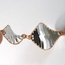 Armband Weißgold Pink 18K 750, Rombi Wellig, Fein Mattiert, Italien - $543.58