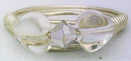 Glass Heart Bead Silver Wire Wrap Ring sz.7 - $12.25