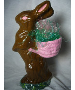Handmade Chocolate Colored Easter Bunny by Christopher James in Paper Mache - $45.99
