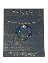 Sterling Silver Necklace Crystallized Swarovski Elements Blue Green Circle NEW - $16.39