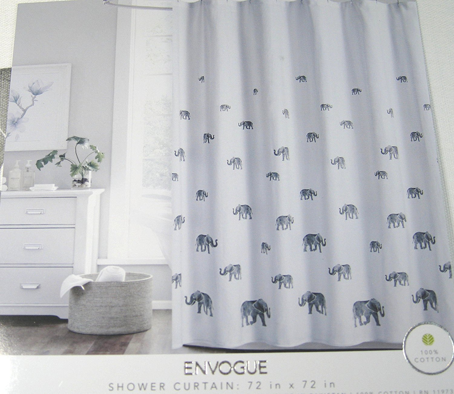 Envogue Gray Elephants Shower Curtain