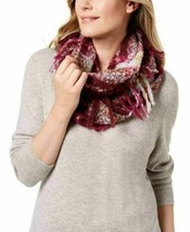 Charter Club Bouclé Plaid Fringed Infinity Loop Scarf, Red Wine - $13.86