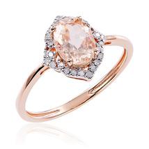 14k Rose Gold Over Silver Oval Cut Morganite & Diamond Anniversary Ring - $145.99